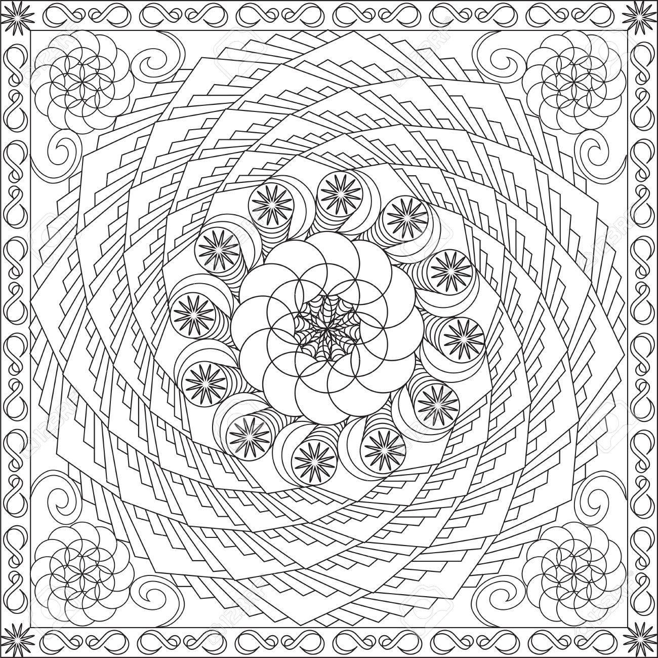大人スクエア フォーマット スパイラル幾何花デザイン ベクトル イラスト