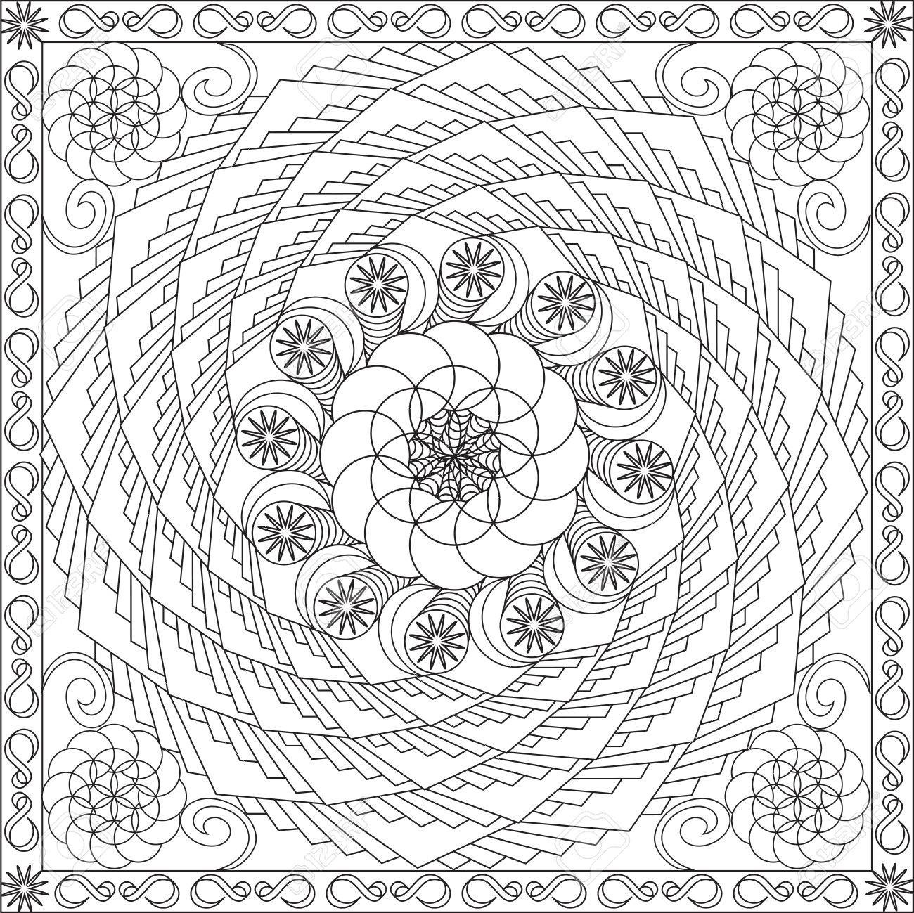 Page Coloring Book For Adults Square Format Spiral Geometric Flower Design Vector Illustration Stock
