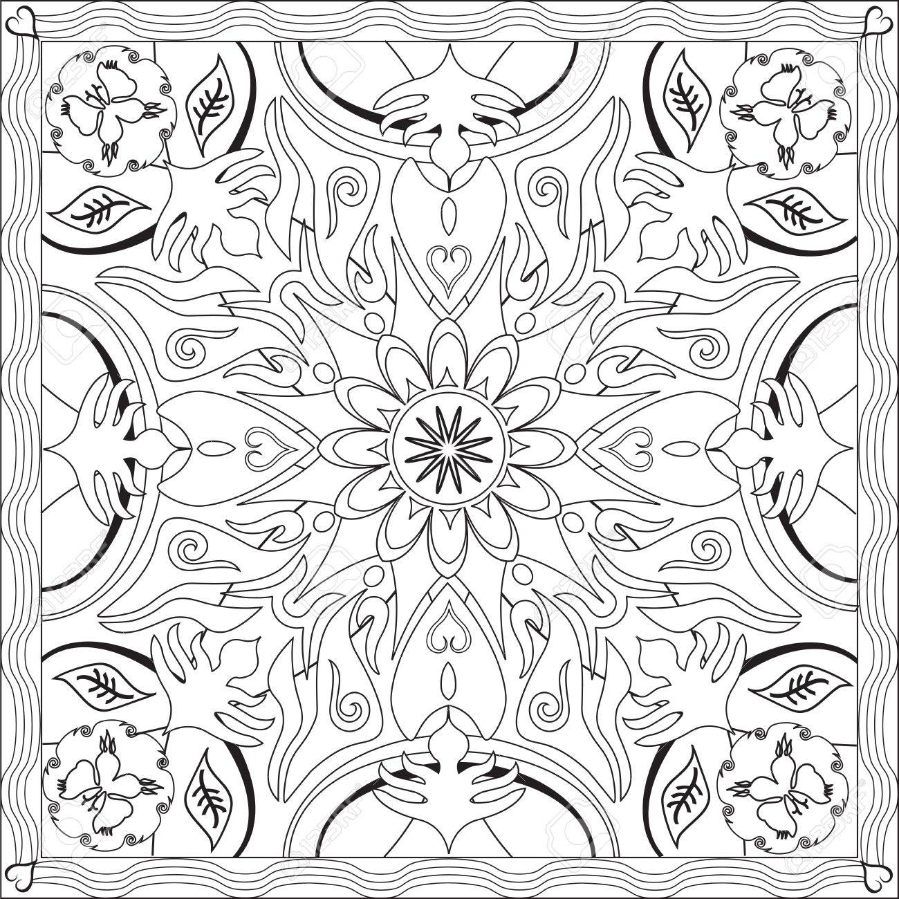 Page Coloring Book For Adults Square Format Flower Geometric Design Vector Illustration Stock