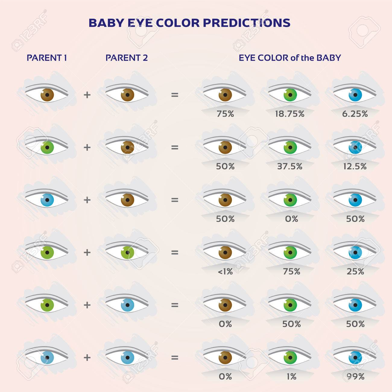 Baby Eye Color Prediction Chart Icons In Blue Green And Brown