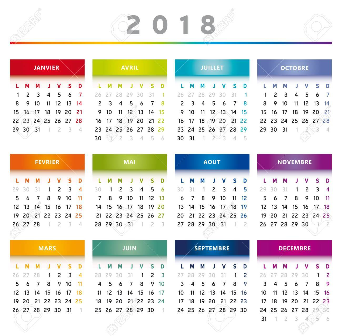 2018 calendar rainbow colors in french stock vector 87719598