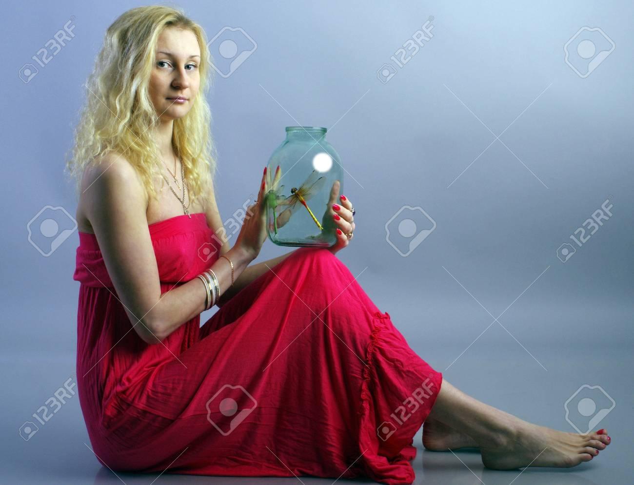 Girl in red dress Stock Photo - 17386215