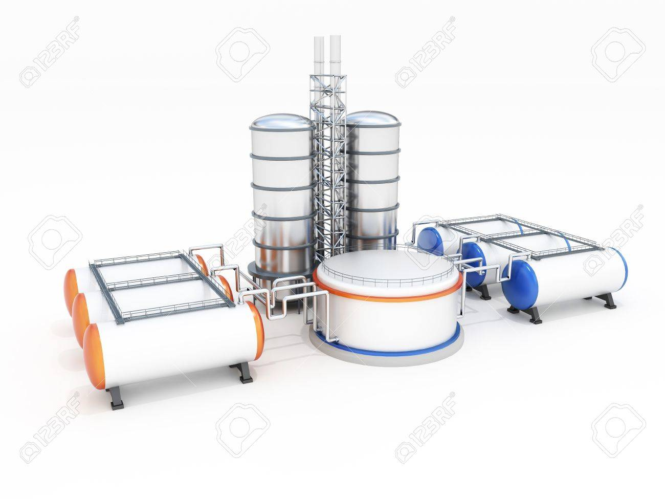 3d model of oil factory Stock Photo - 17456740