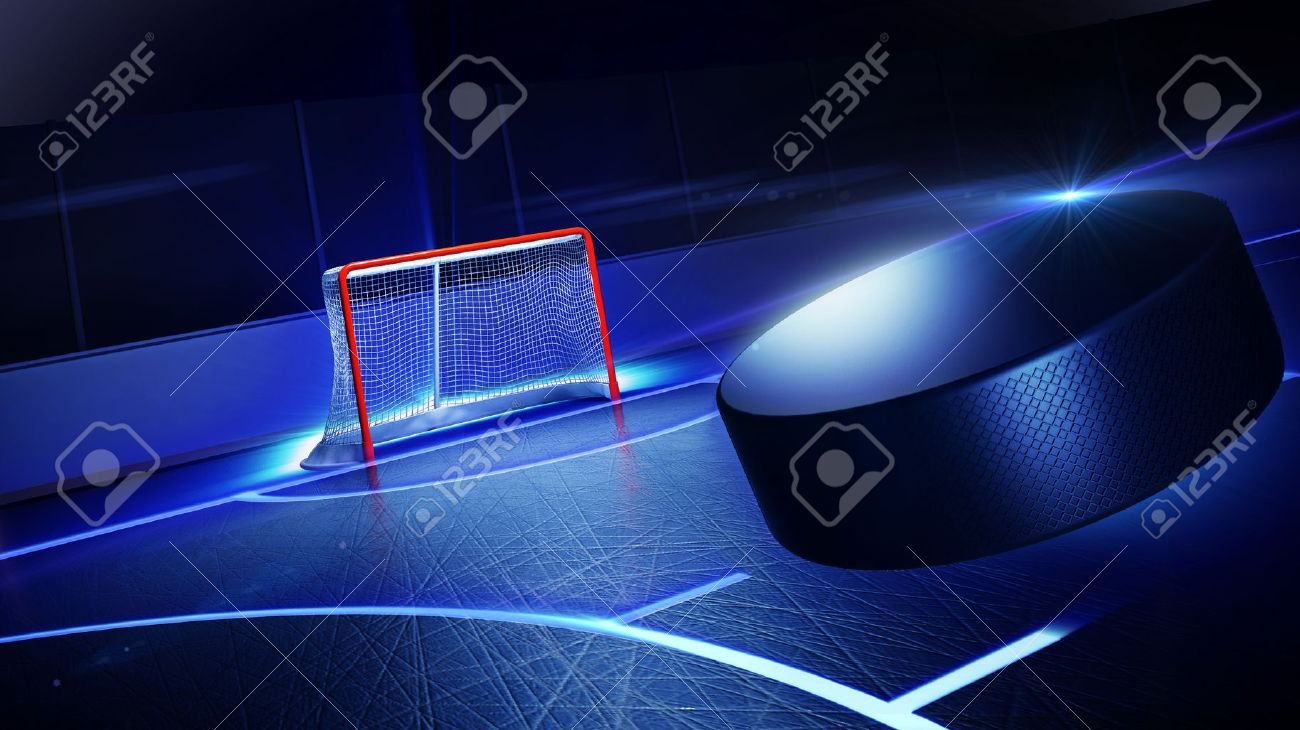3d rendered illustration of hockey ice rink and goal. The puck is flying on goal. Shining lines on ice. Stock Illustration - 36278753