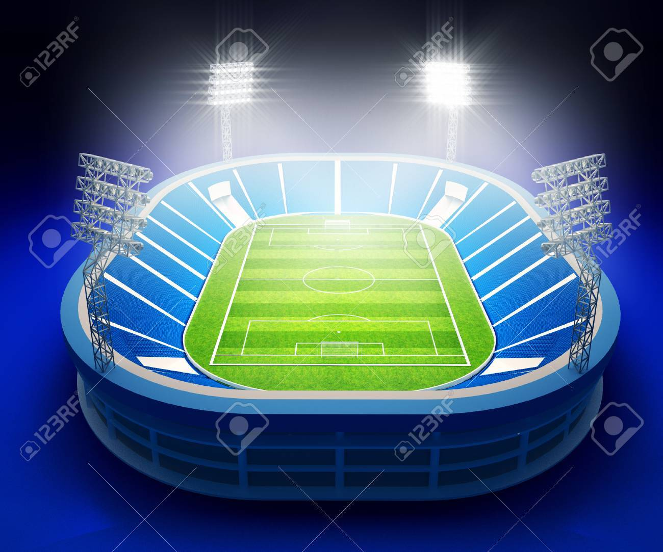 3d illustration du stade avec terrain de soccer avec les lumières sur fond  bleu foncé