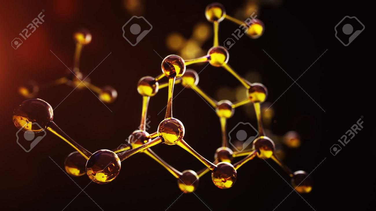 3d illustration of molecule model. Science background with molecules and atoms - 65236510