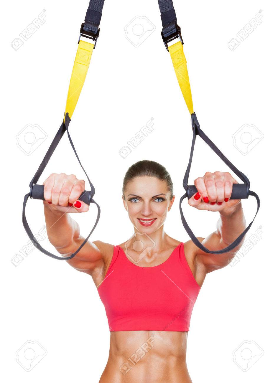 Athletic woman with functional loops for training isolated on white background - 35452497