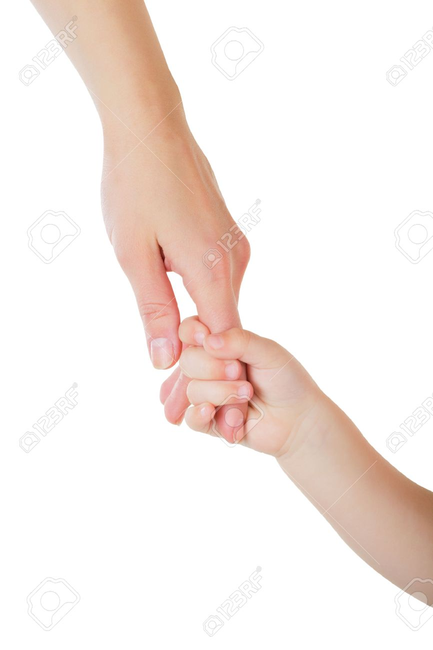 Father giving hand to a child isolated on white background - 36193817