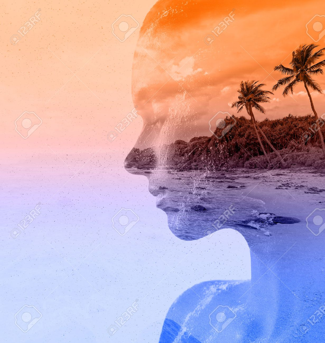 Double exposure portrait of beautiful woman and sea sunset - 41021067