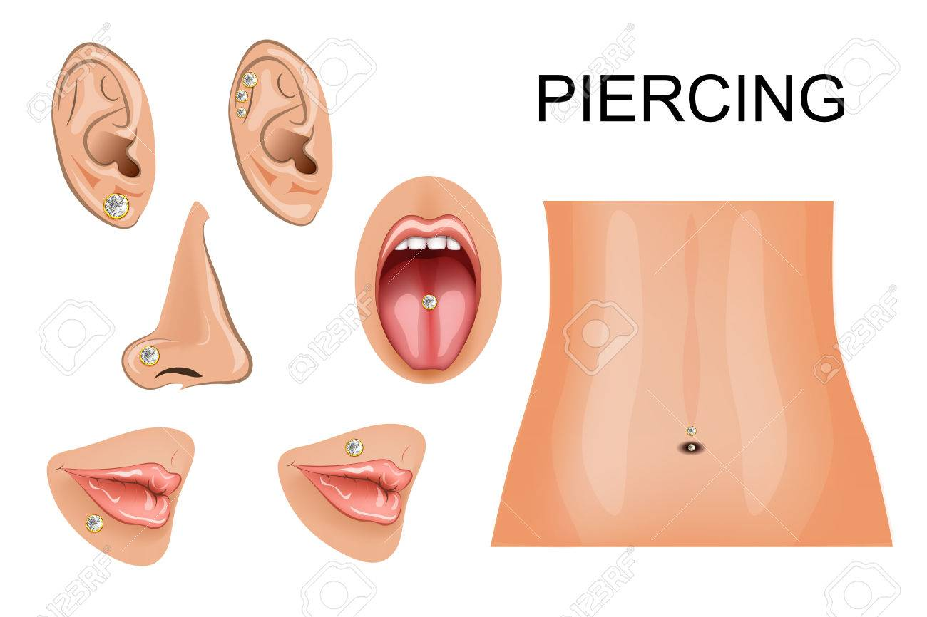 120 lip piercing stock vector illustration and royalty free lip illustration of piercings on different parts of the body pooptronica Choice Image