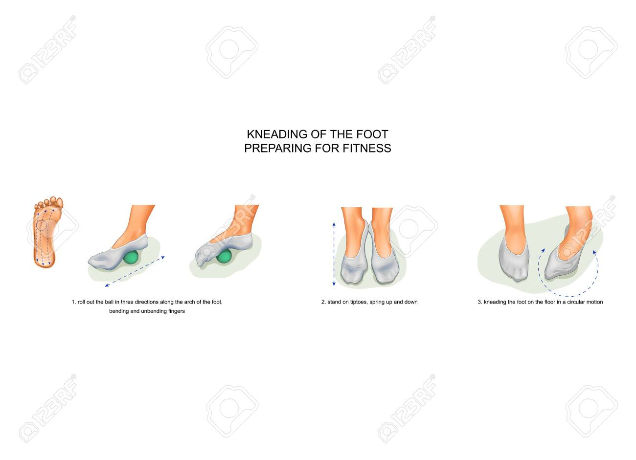 kneading of the foot, preparing for fitness - 133719274