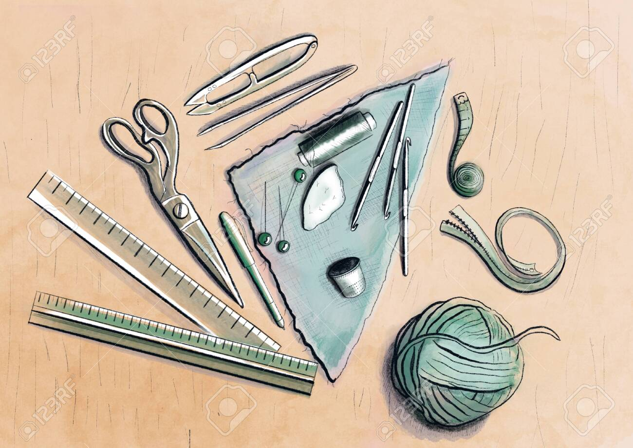 Illustration of set of sewing tools - 137698560