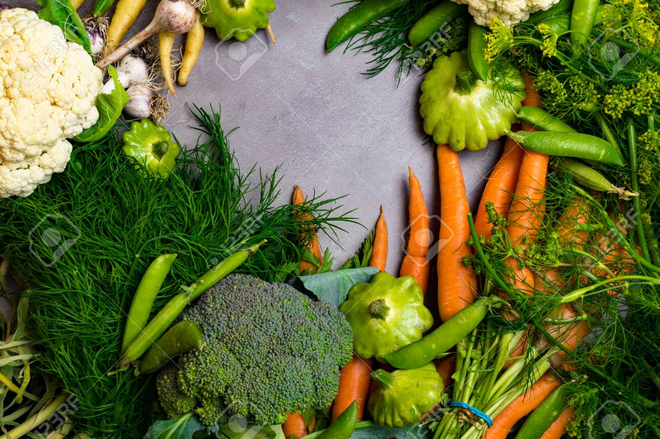 Carrot, green pea, cauliflower, broccoli, garlic, dill,