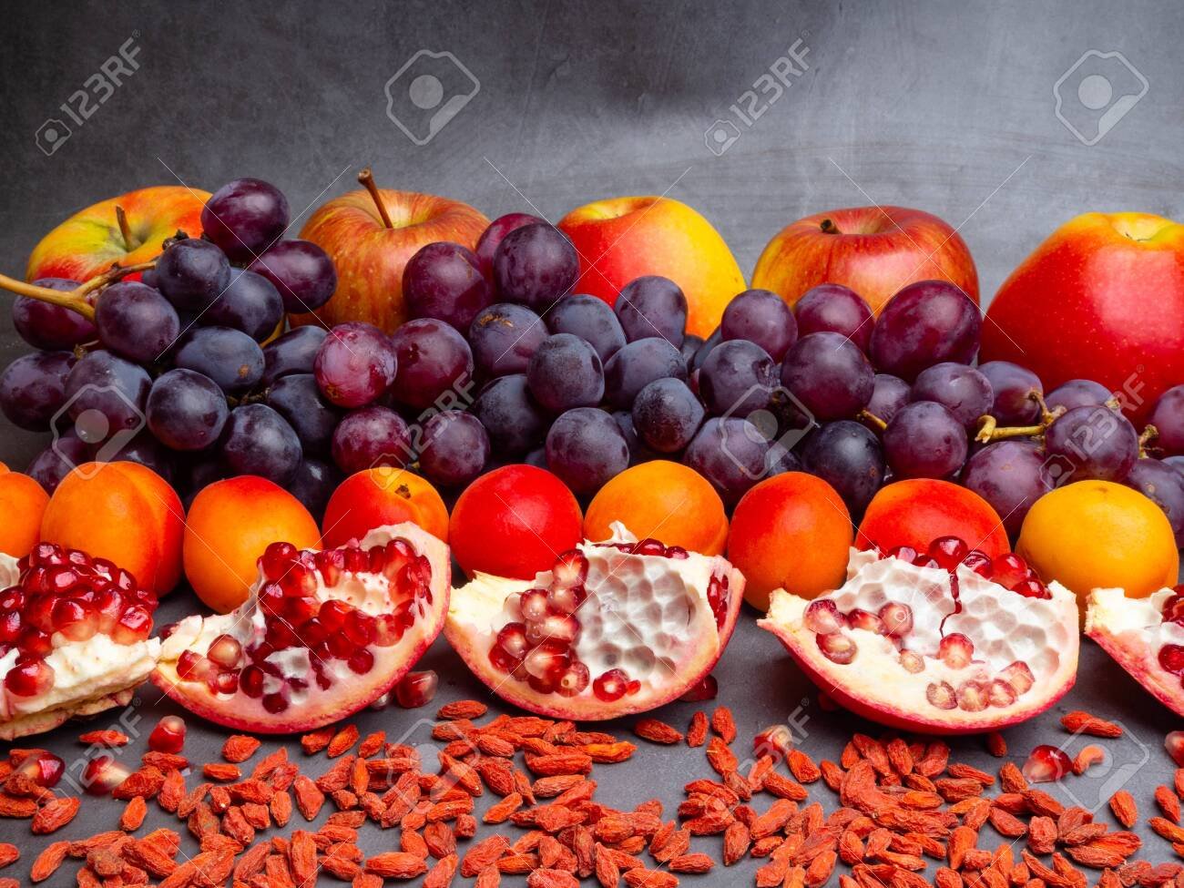 Mix Of Fresh Fruits And Berries Rich With Resveratrol Raw Food Stock Photo Picture And Royalty Free Image Image 123707945