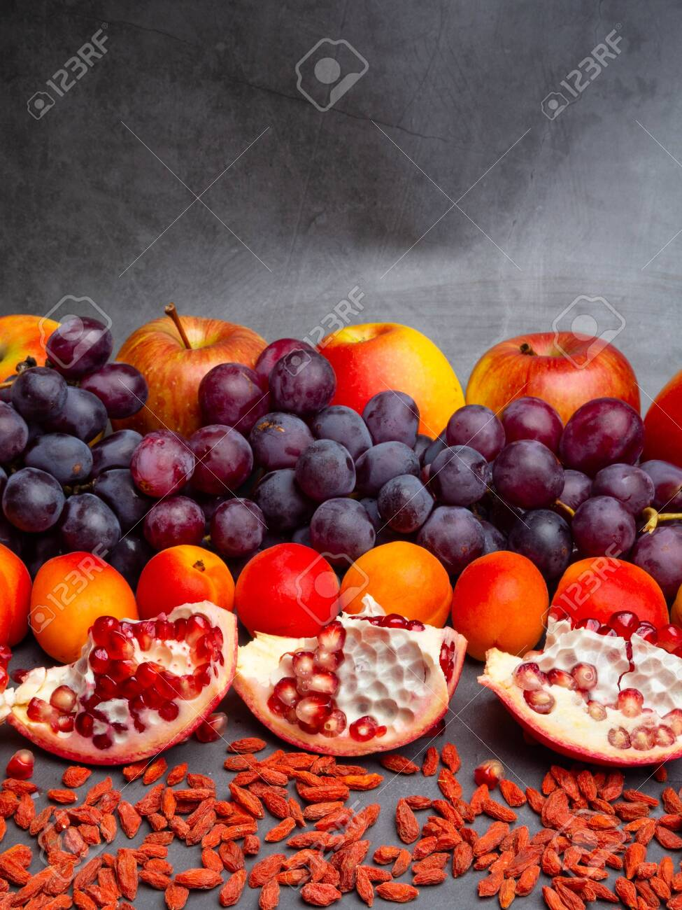 Mix Of Fresh Fruits And Berries Rich With Resveratrol Raw Food Stock Photo Picture And Royalty Free Image Image 123707947