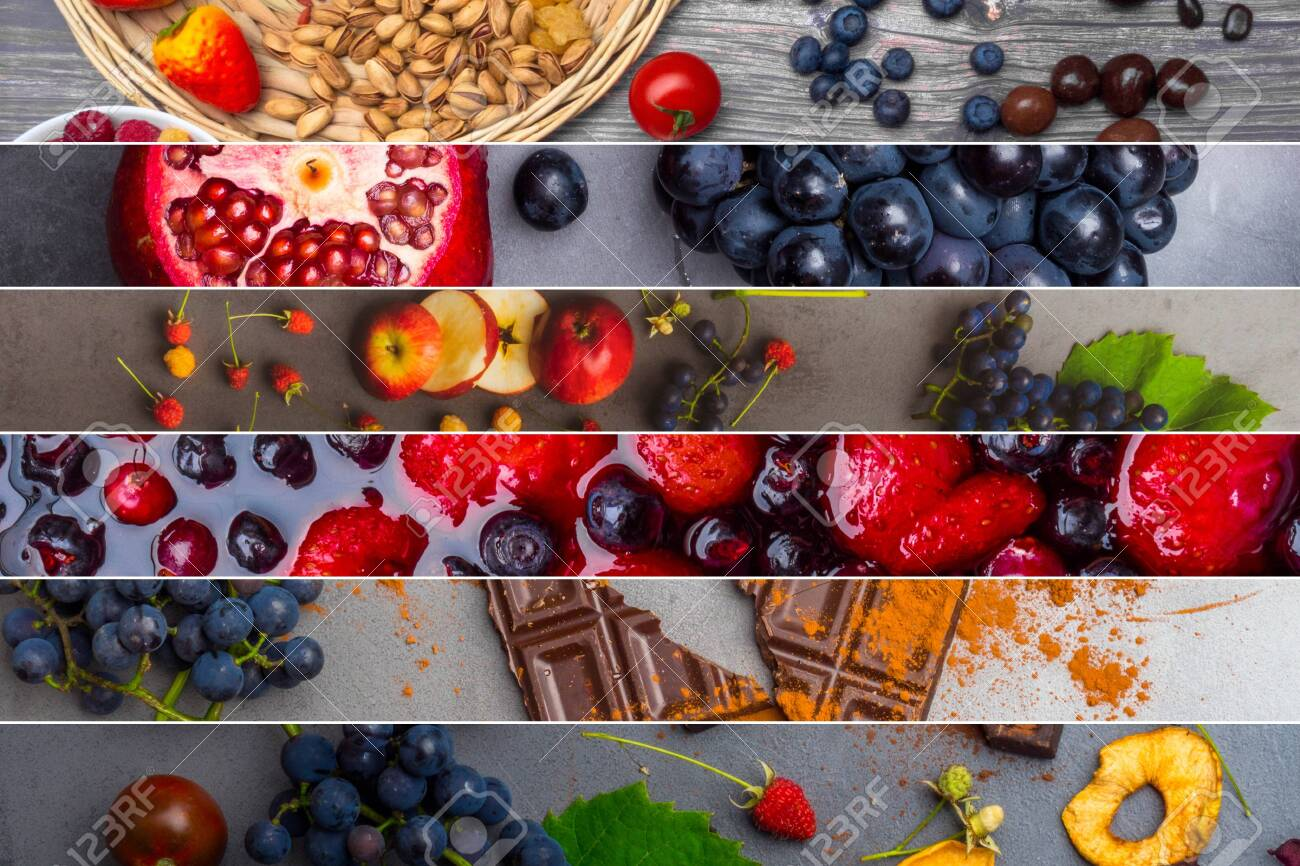 Collage Of Food Rich With Antioxidants Resveratrol Food For