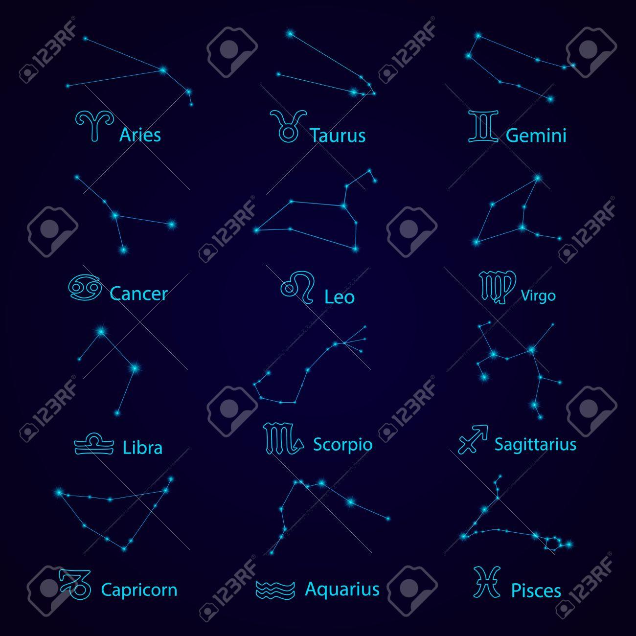 Zodiac  Horoscope set: Leo, Virgo, Scorpio, Libra, Aquarius,
