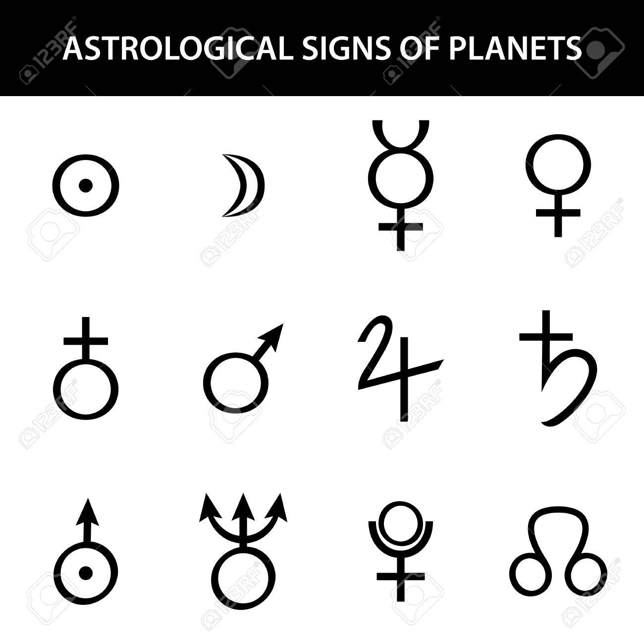 Astrology signs of planets  Vector illustration