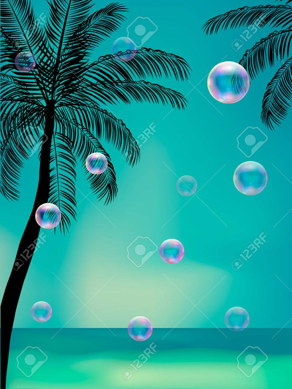 summer background with transparent bubbles beach party flyer