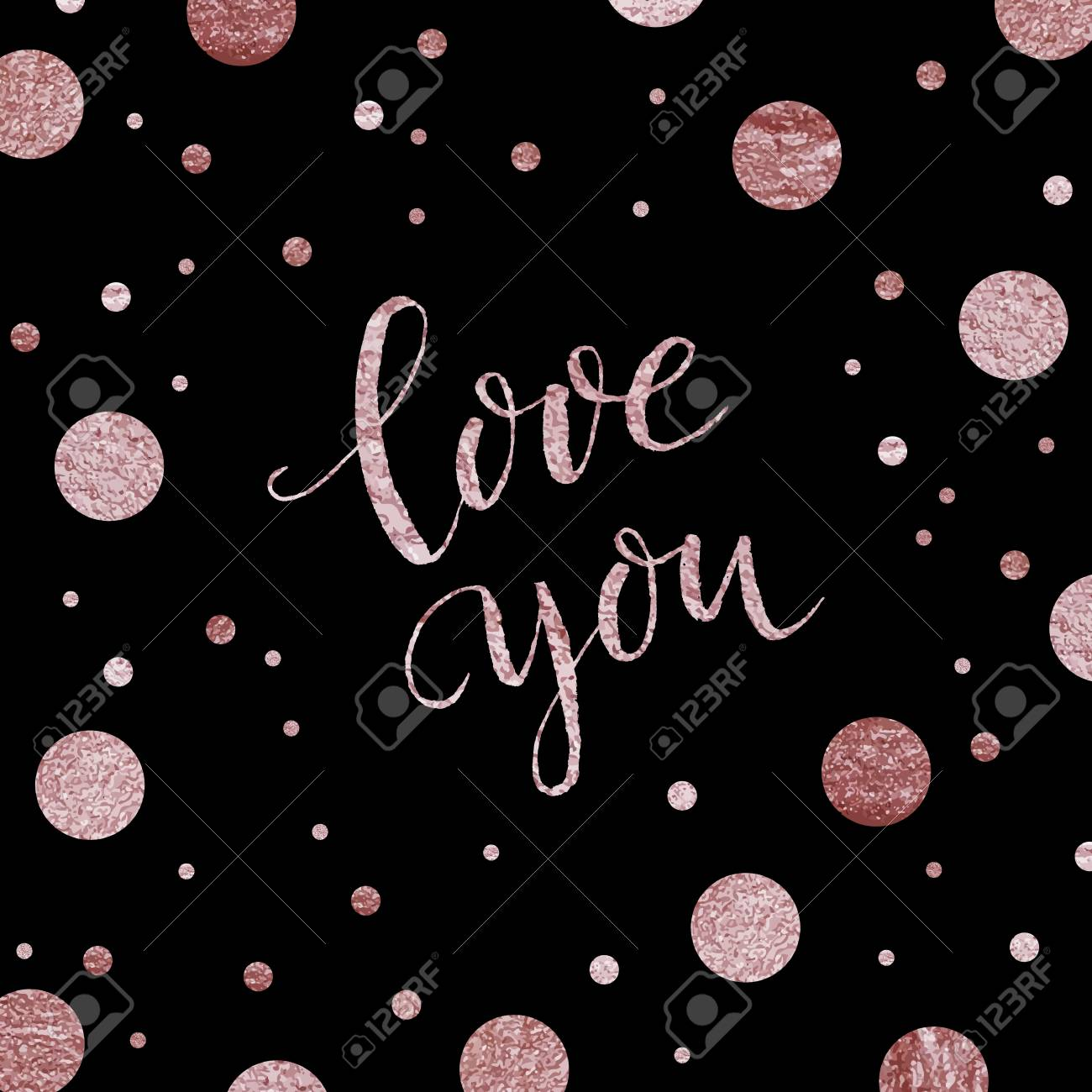 Rose Gold Lettering Hand Drawn Letters Handwritten Text Love