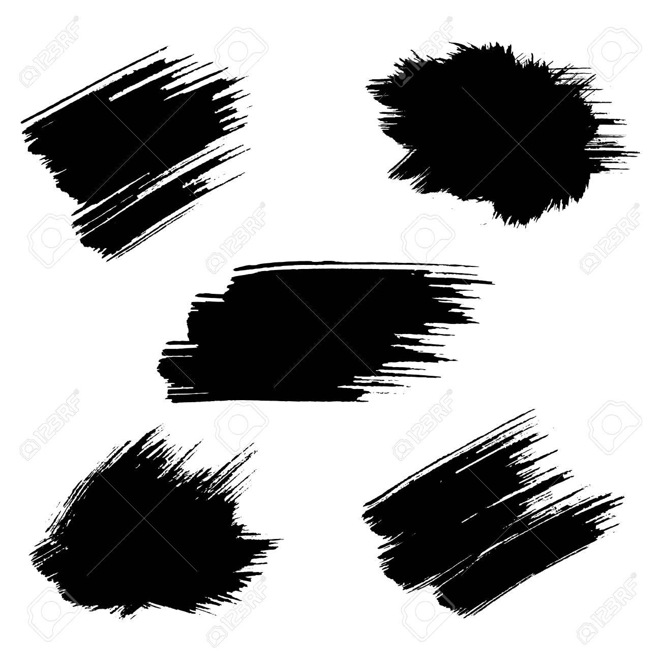 Conjunto De Pintura Negro, Pinceladas De Tinta, Pinceles, Líneas ...