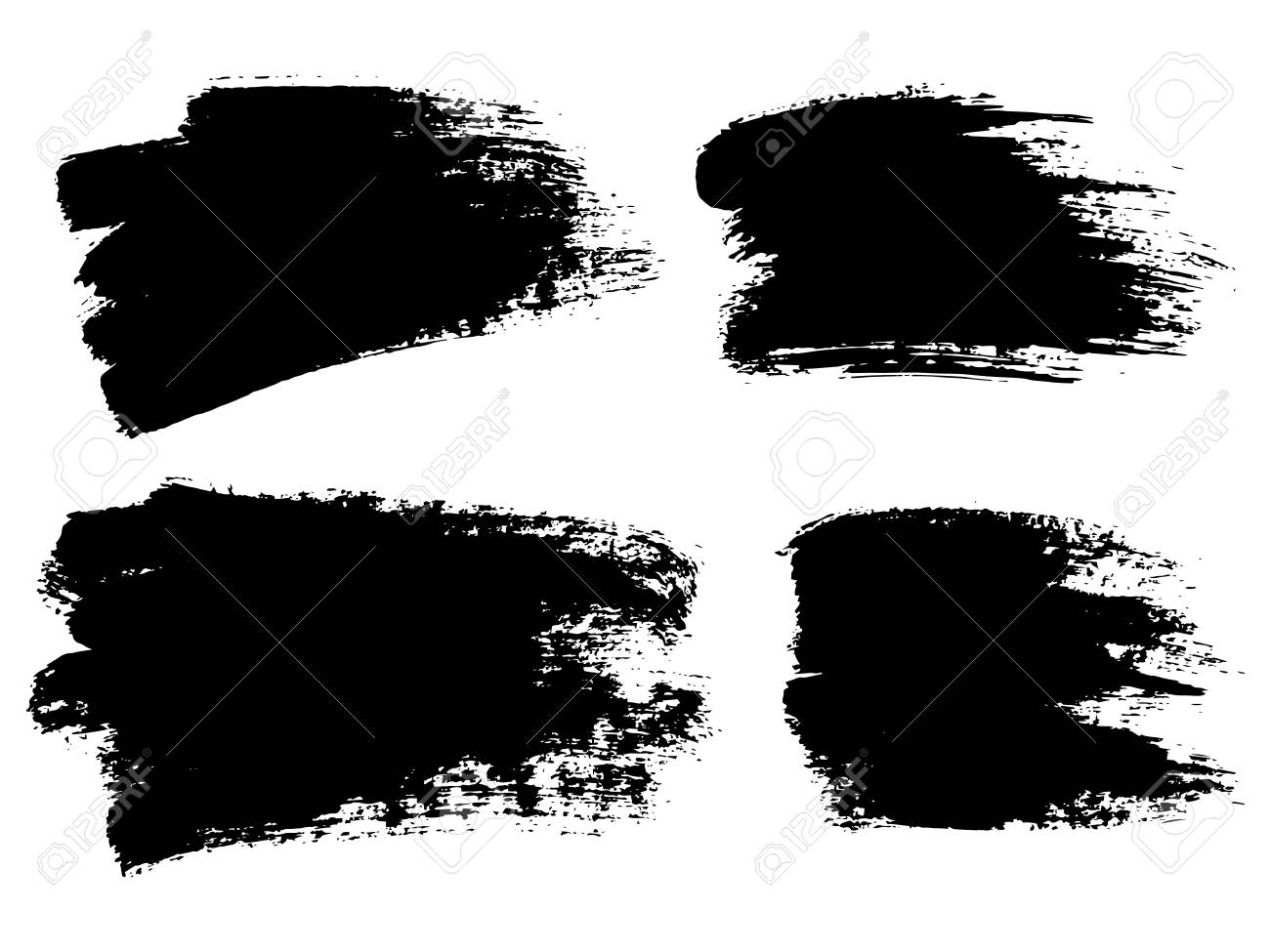 Painted Grunge Stripes Set Black Labels Background Paint Texture
