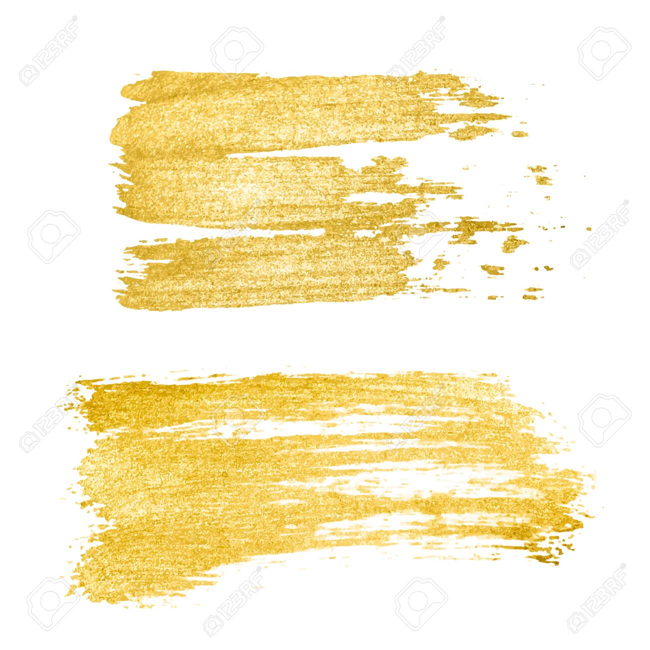 Vector golden brush stroke, brush, line or texture. Hand drawn brush stroke design element, box, frame or background for text. Gold Texture Paint Stain - 123189086