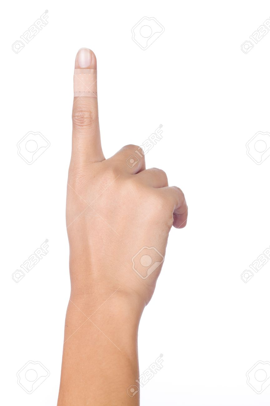 Injured index finger covered by plaster on white background Stock Photo - 17625757