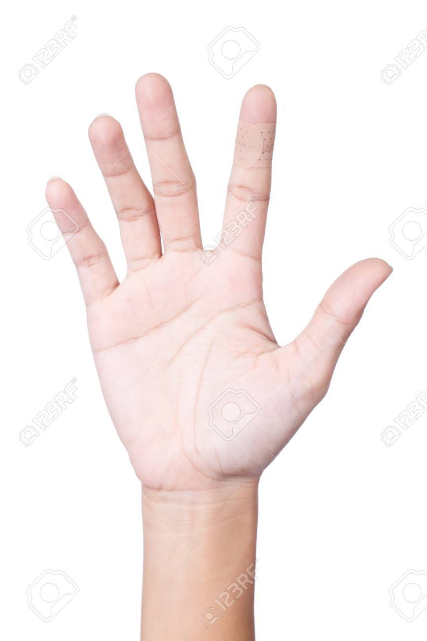 Injured index finger covered by plaster on white background Stock Photo - 17625764