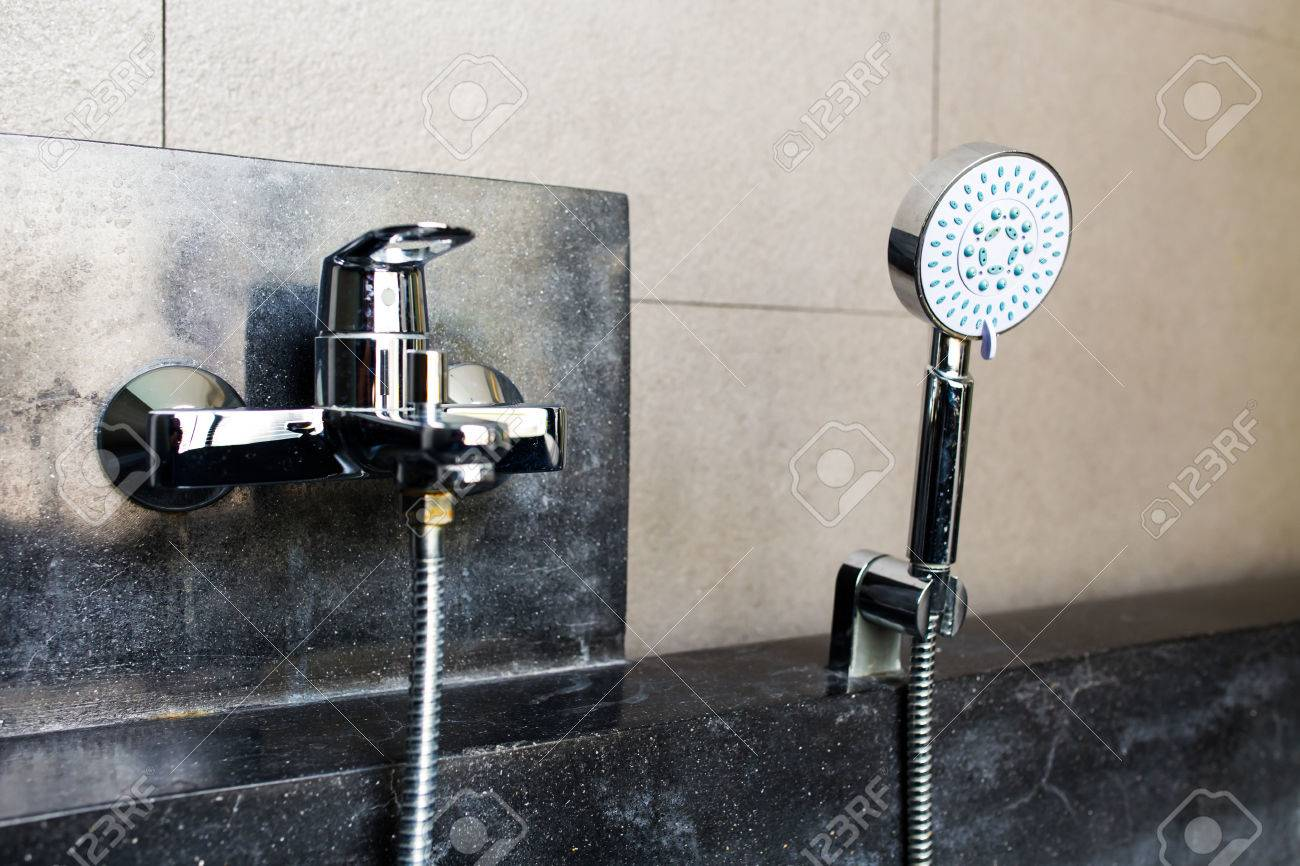 Modern Jacuzzi With Faucet And Hand Shower In Bathroom Stock Photo ...