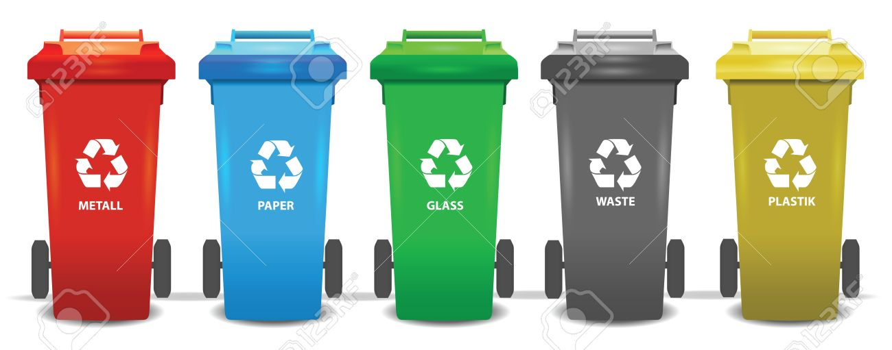 Colorful recycle trash bins isolated white, vector set. Big containers for recycling waste sorting - plastic, glass, metal, paper - 66715381