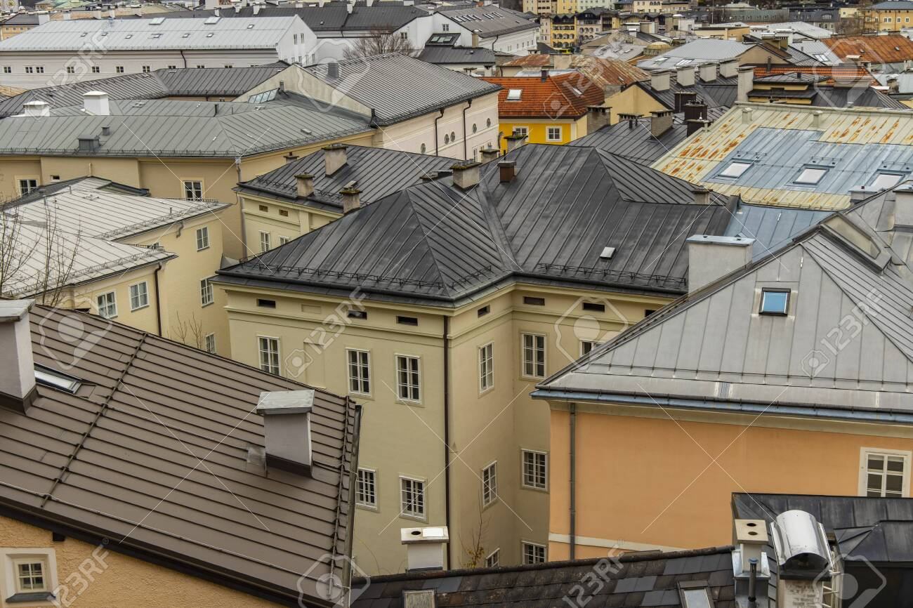 top view old town historical street district houses roofs urban landmark photography in European city Salzburg touristic site - 139407439