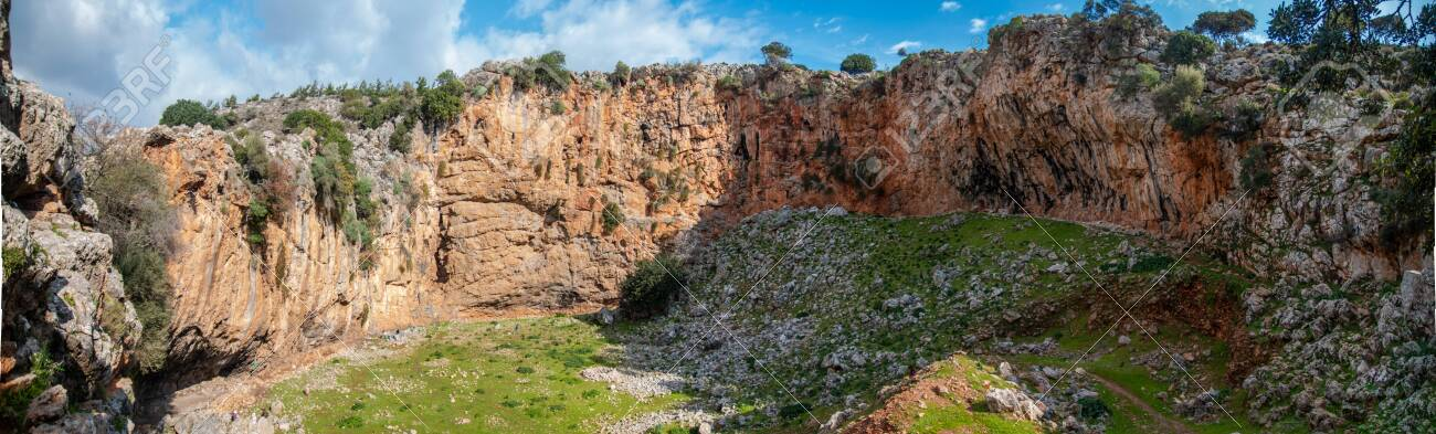 Famous Climbing Site in Crete, Greece, Voulismeno Aloni. Panoramic view of the Beautiful cliff. - 139142236