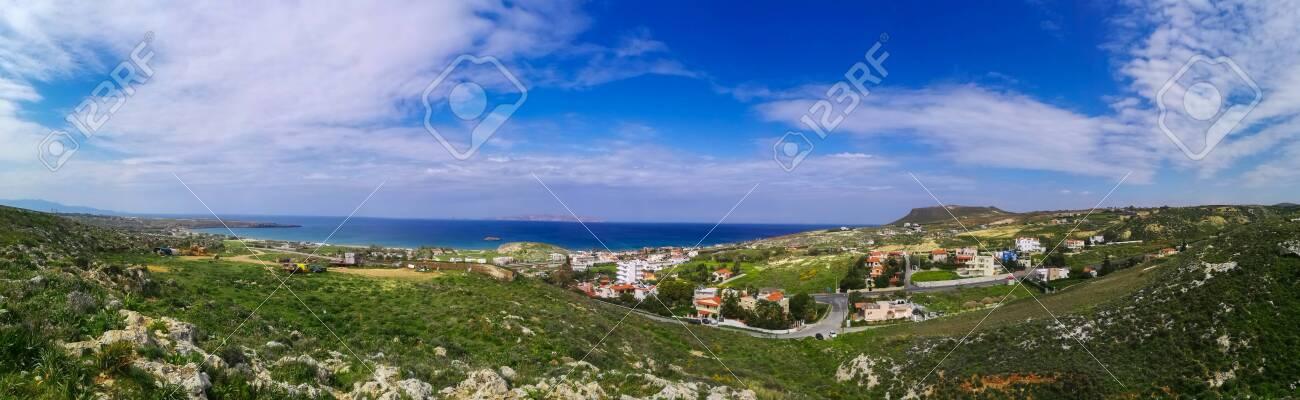 Beautiful Karteros beach. Crete island. Paradise beach with mountains. Travel tourism wide panorama background concept. - 142958909