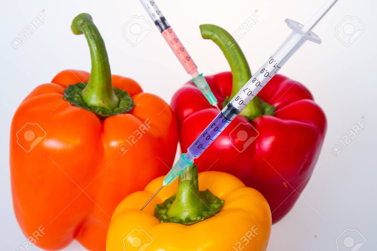 Genetically modified vegetables. GMO food concept. Syringes are stuck in vegetables with chemical additives. Injections into fruits and vegetables. Isolated on white background. - 144202852