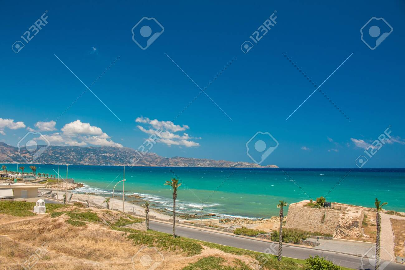 Heraklion city, beach view. Central street of Heraklion with sea and sky. - 144202856