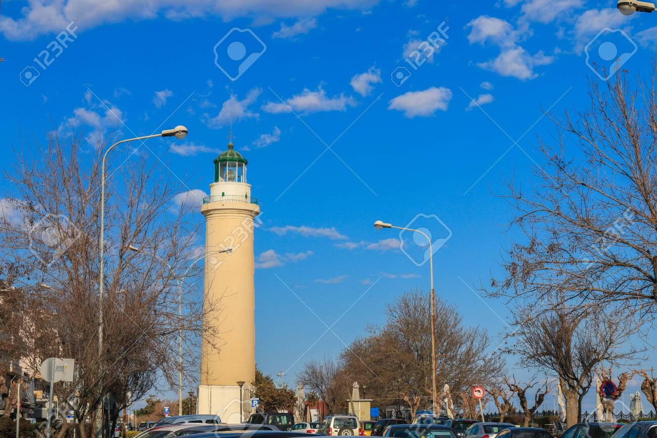 Alexandroupoli City, lighthouse and cloudy sky. Alexandroupolis, Evros, Greece. - 142963002