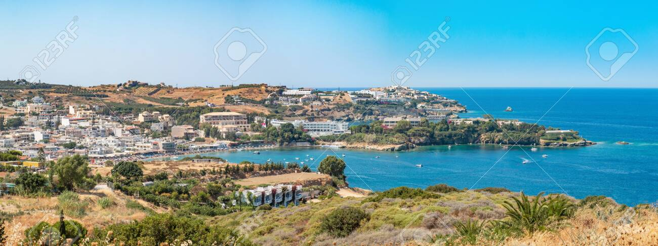 Agia Pelagia is a small town with a beautiful beach at Bay Aghia Pelaghia near Heraklion, Crete, Greece. Panoramic view HD Agia Pelagia. Travel and holidays places. - 153106375