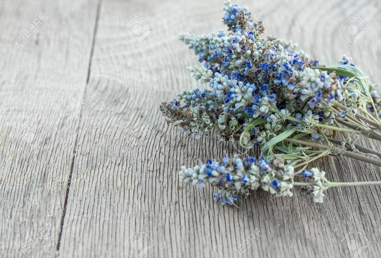 Beautiful Greek wild lavender on natural wooden background. Copy space for text. Aromatherapy and essential oil concept. Space for you product. - 152914491