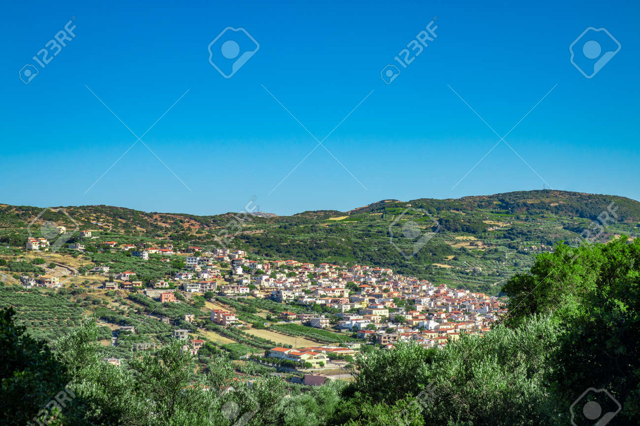 Archanes village, Greece. View from Fourni forest mountain. - 160358685