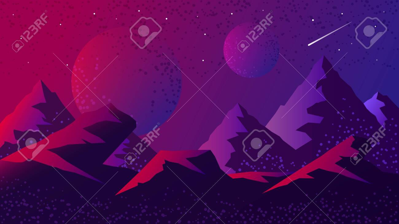 Space and planet background landscape silhouette template. Fantasy alien planets surface with mountains, sky, stars and comets in dark space. Science fiction vector cosmos illustration - 144322161