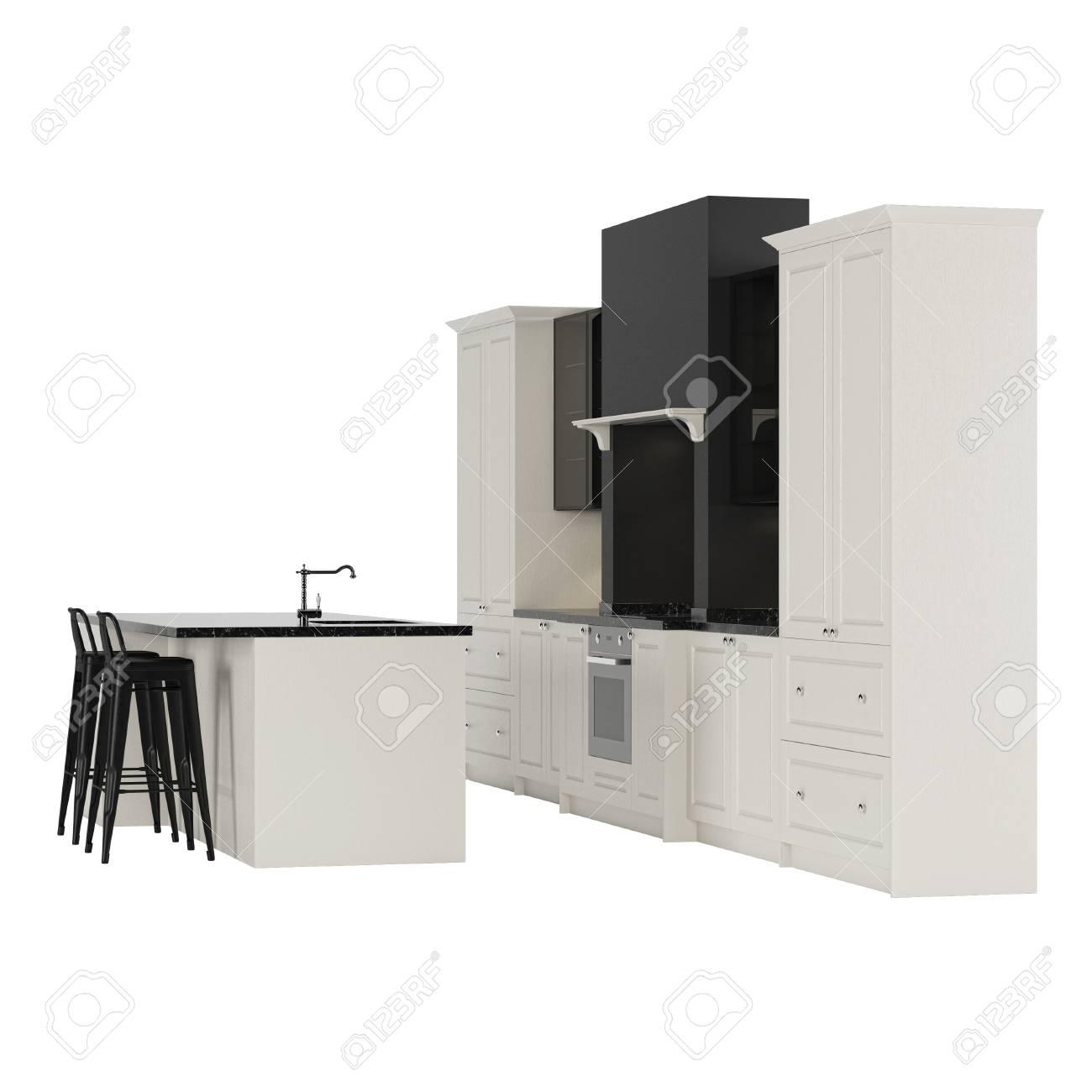 Immagini Stock - Mobili Da Cucina In Stile Moderno Isolato Su Uno ...