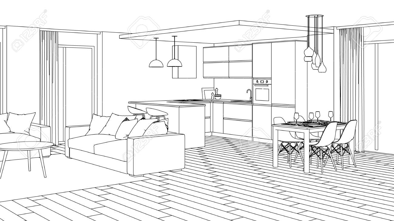 Modern house interior design project sketch 3d rendering stock photo 103938322