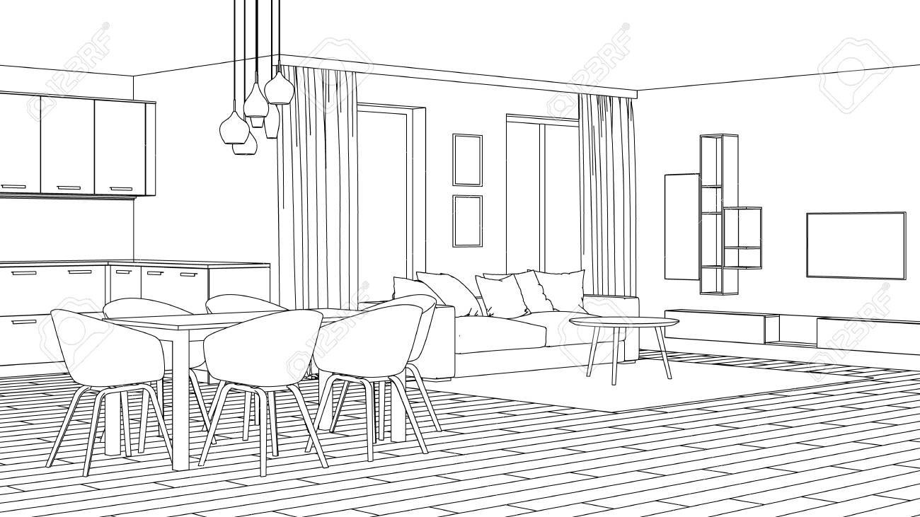 Modern House Interior Design Project Sketch 3d Rendering Stock Photo Picture And Royalty Free Image Image 103785622
