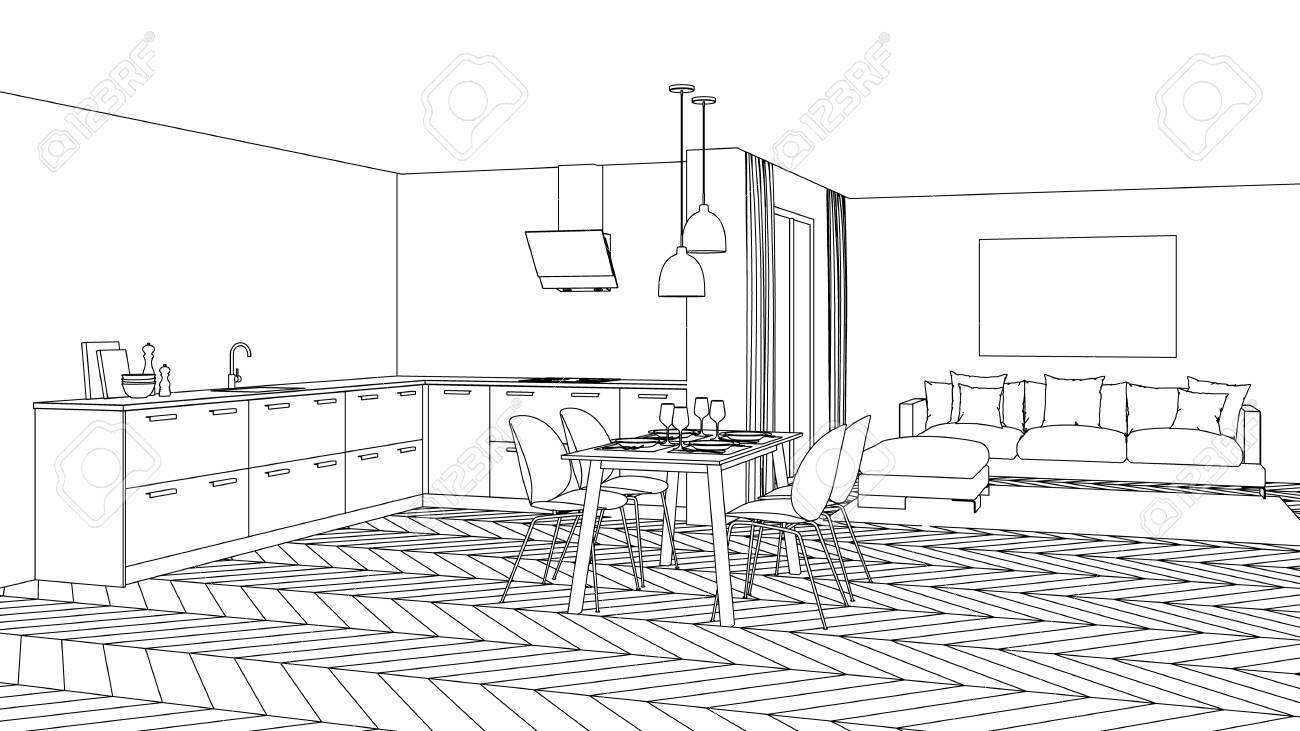 Modern house interior design project sketch 3d rendering stock photo 113259560