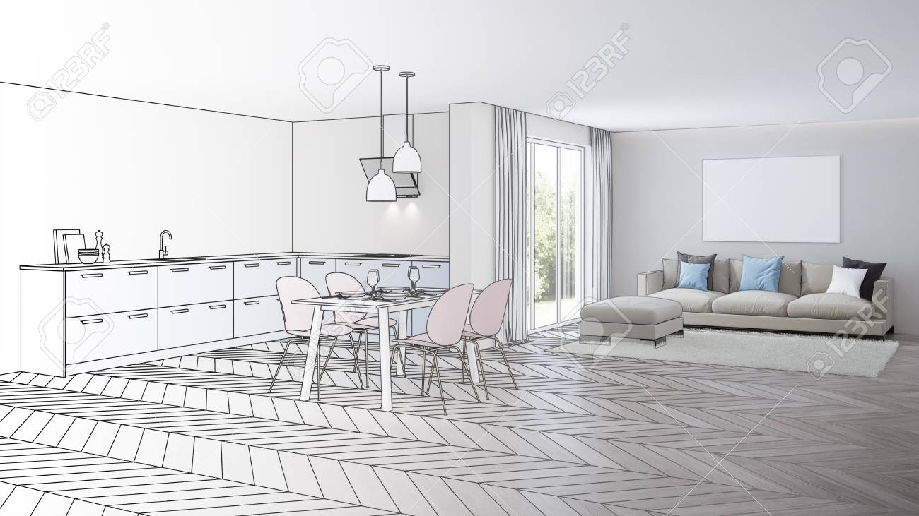 Modern house interior design project sketch 3d rendering stock photo 113259601