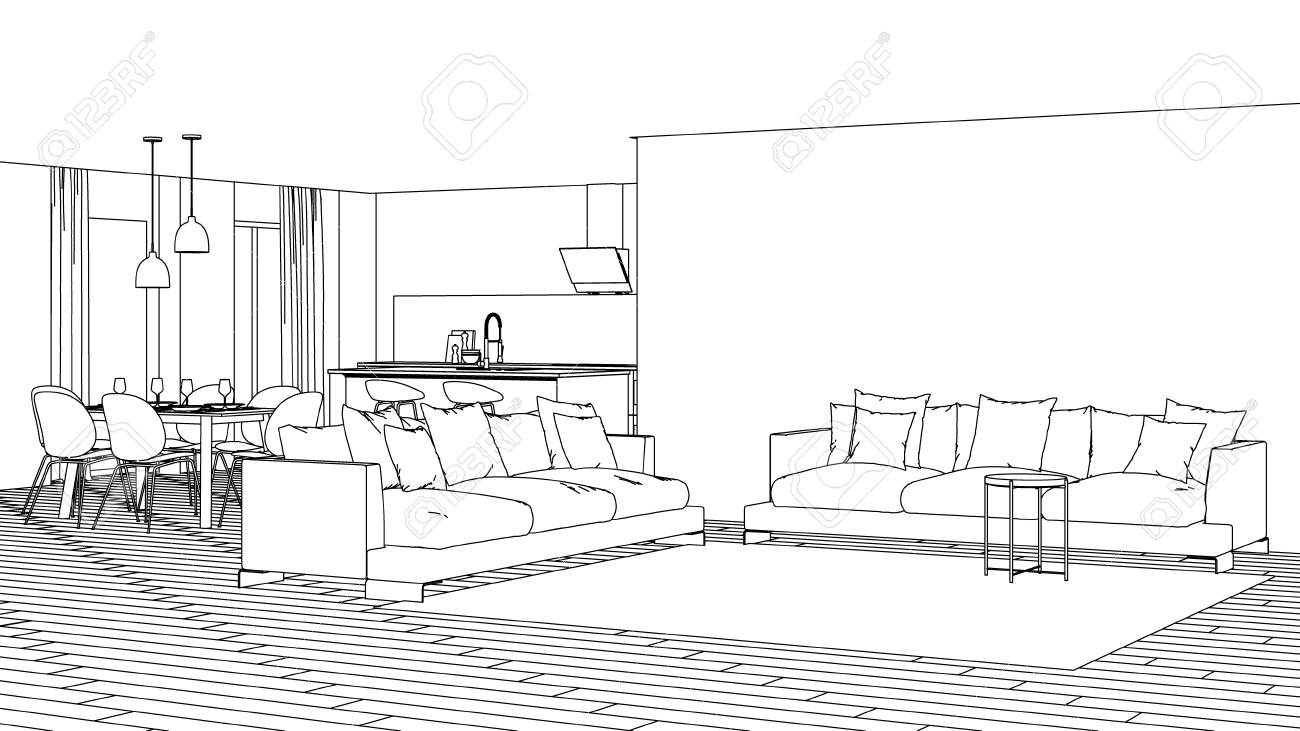 Modern House Interior Design Project Sketch 3d Rendering