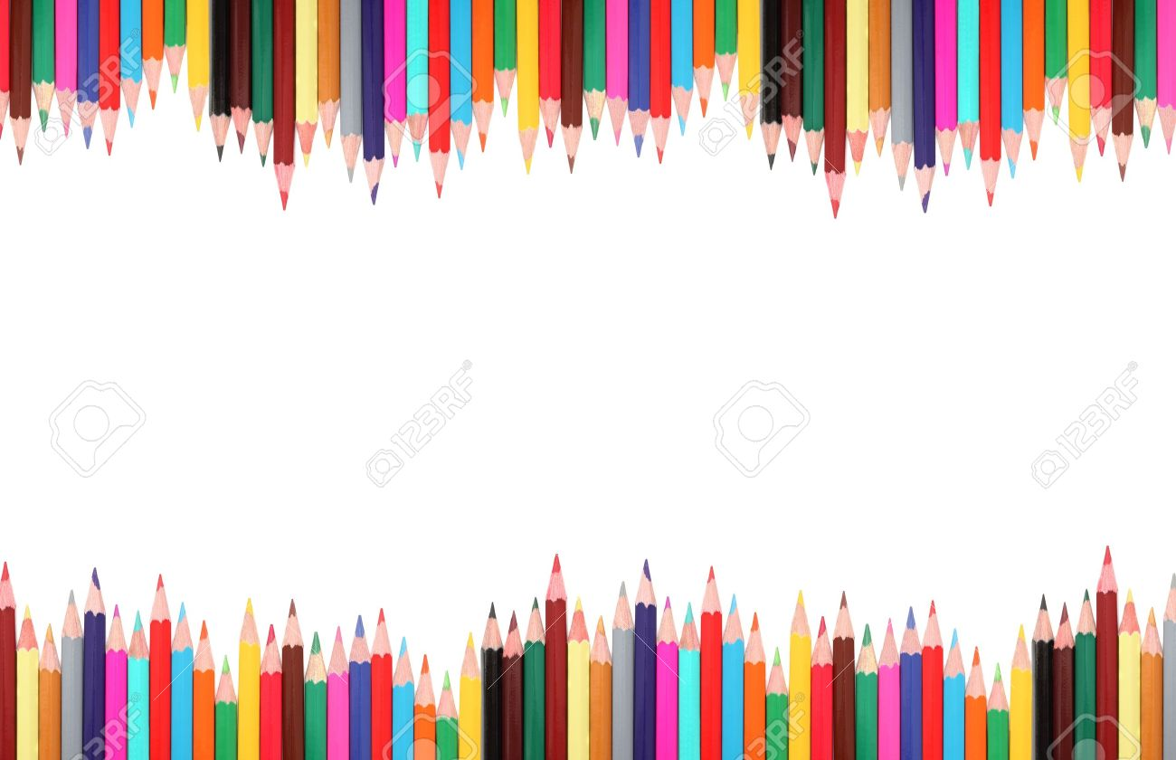 Frame made from colored pencils isolated on white background with shadows Stock Photo - 14800674