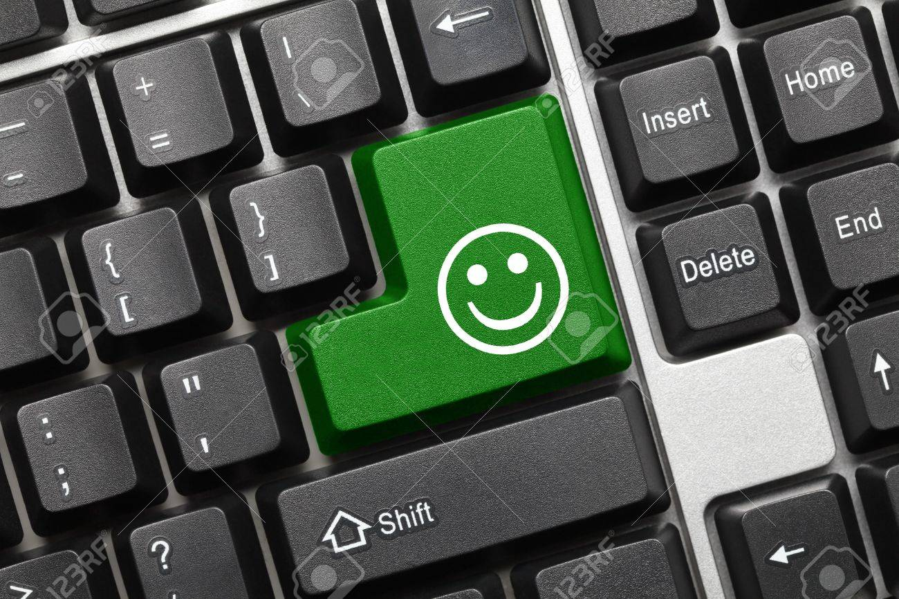 Close up view on conceptual keyboard - Good mood  green key Stock Photo - 16490856