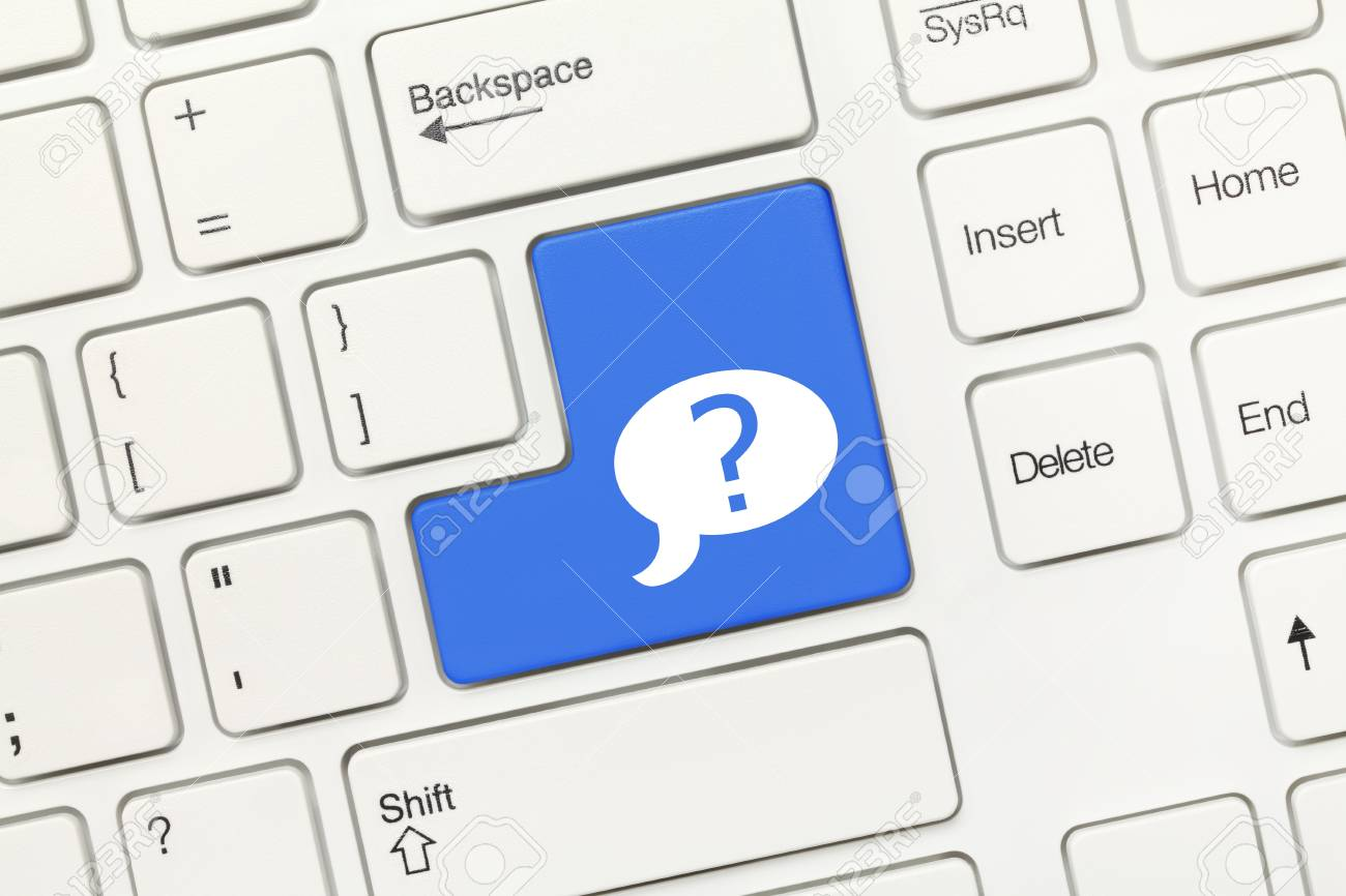 Close Up View On White Conceptual Keyboard Blue Key With Question